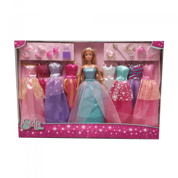 Poupée Steffi Love 29 Cm Coffret 9 Robes De Princesse