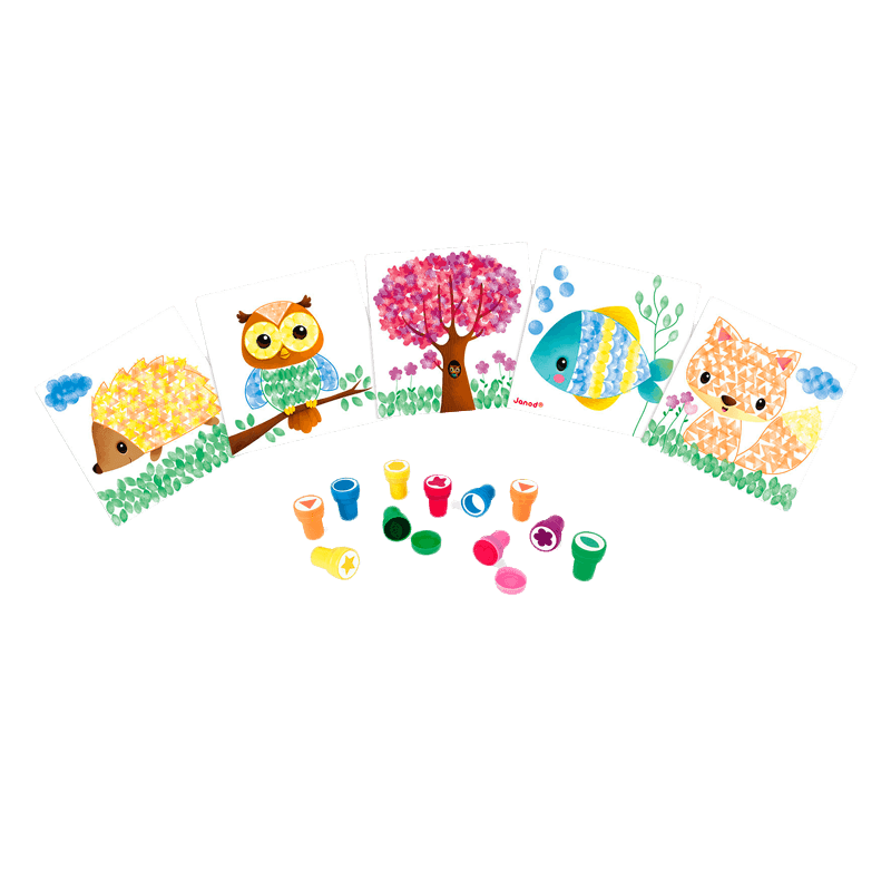 Kit creatif cartes a tamponner animaux