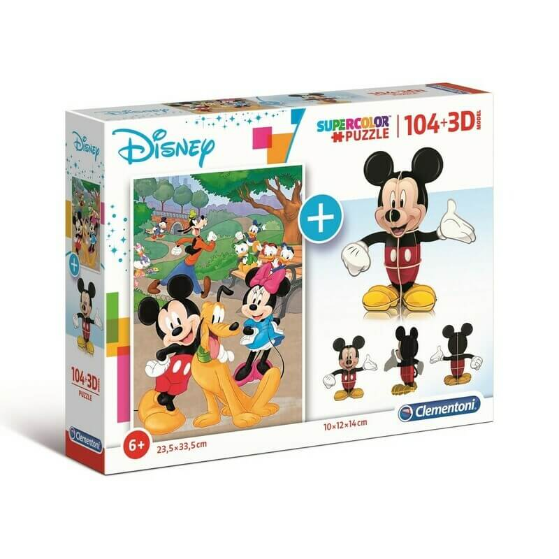 Coffret puzzle 104 pièces Mickey Mouse + Micke